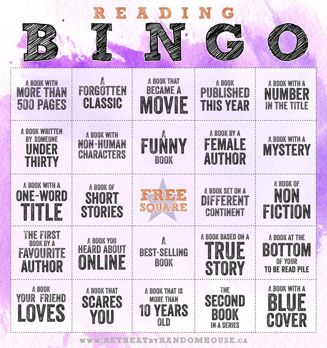 Reading Bingo challenge 2014