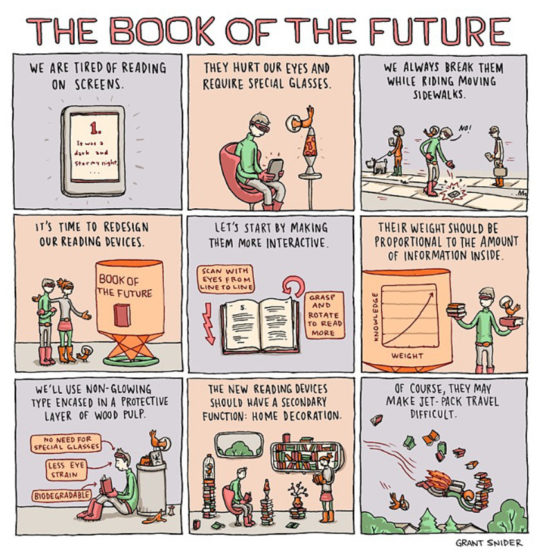 The book of the future - a cartoon by Grant Snider