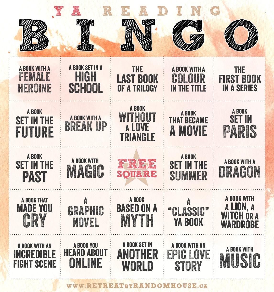 YA Reading Bingo Challenge 2014