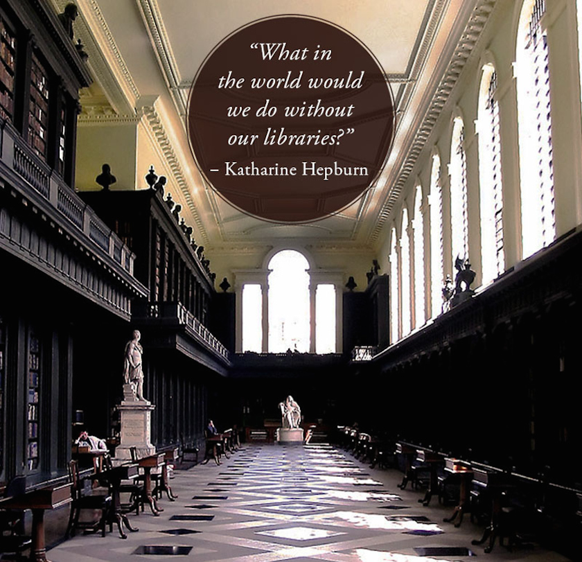 Quotes about libraries - Katharine Hepburn - Codrington Library Oxford