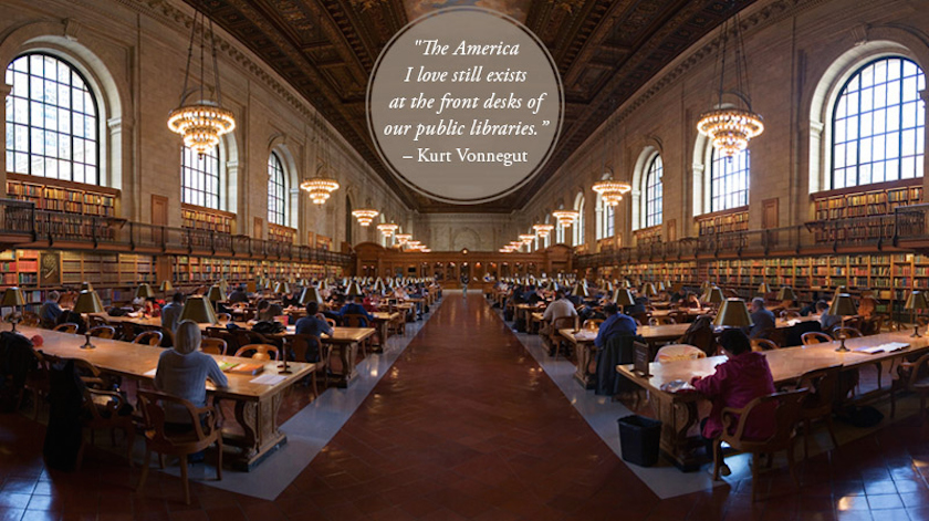 Quotes about libraries - Kurt Vonnegut - New York City Library