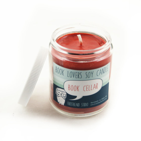Book-scented candles: Frostbeard Book Cellar Scented Soy Candle
