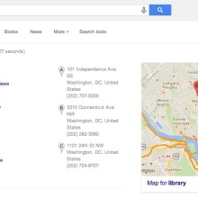 Google results for library in Wahsington