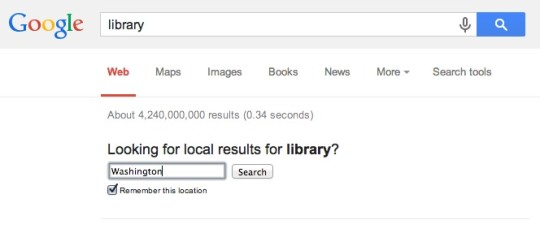 Google search find the nearest library