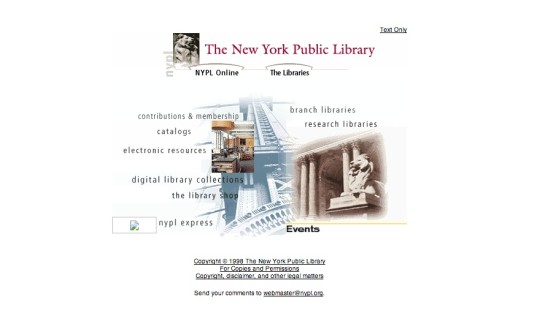 A home page of The New York Public Library 1998