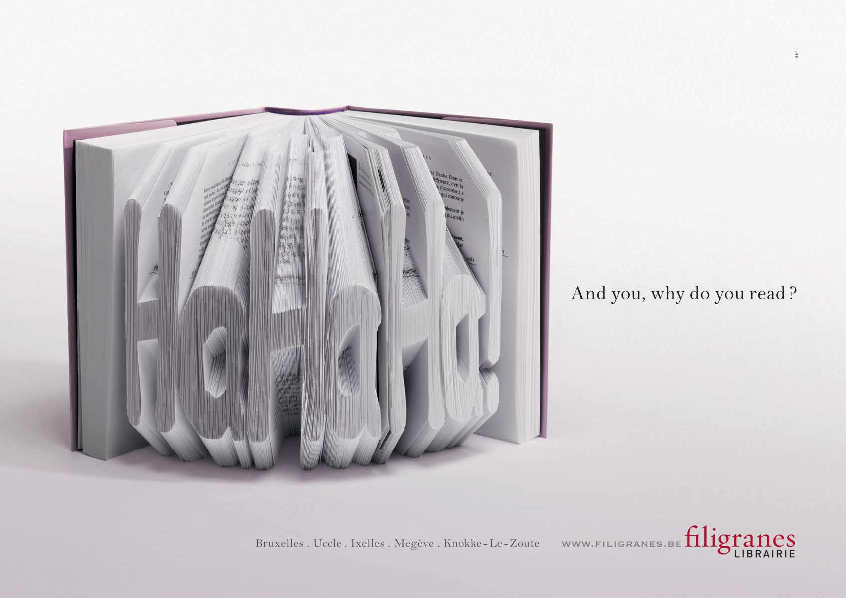 Ads for bookstores - Filigranes - Hahaha