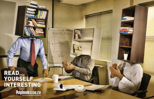 Ads for bookstores - Read Yourself Interesting - Boardroom