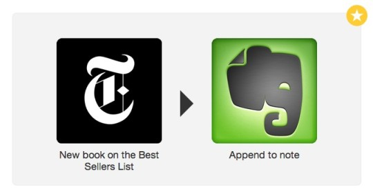 IFTTT recipe - append new New York Times bestsellers to a single note on Evernote