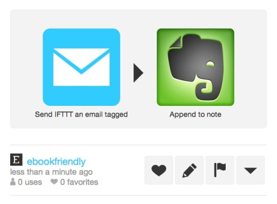 IFTTT recipe - collect text in a single note on Evernote