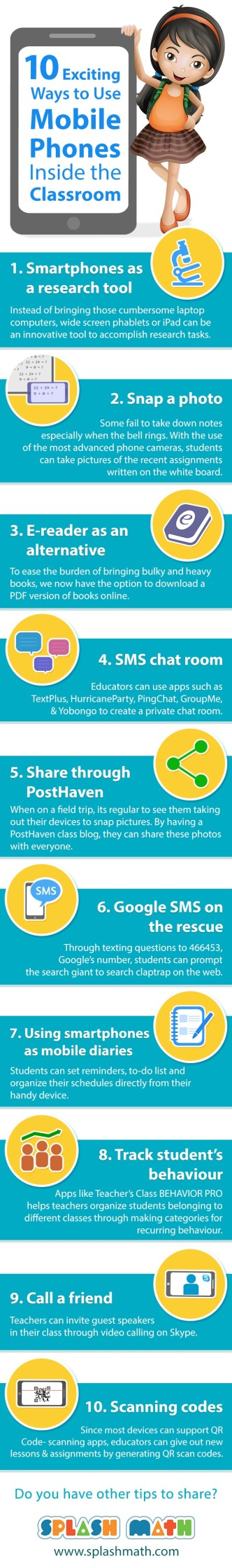 10 ways to use mobile phones in the classroom - infographic