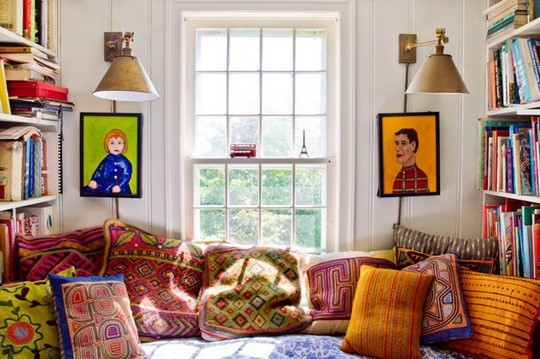 Eclectic farmhouse reading nook by Kristin Nicholas and Mark Duprey