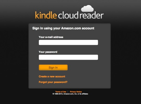 Kindle Cloud Reader - sign-in