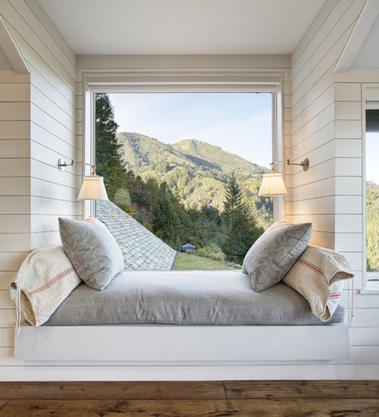 Mountain lodge window reading nook by Michael Rex Architects