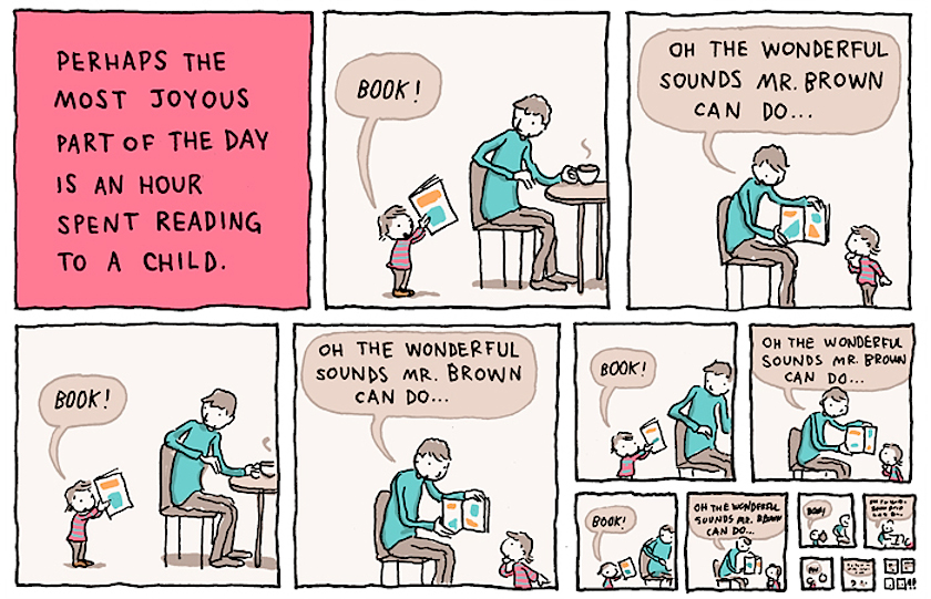 Reading to a child (cartoon)