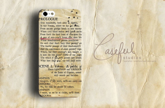 Romeo and Juliet Prologue Smartphone Book Case . Designed and made by ...