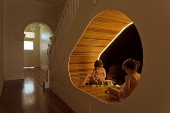 Staircase reading nook by CplusC Architectural Workshop