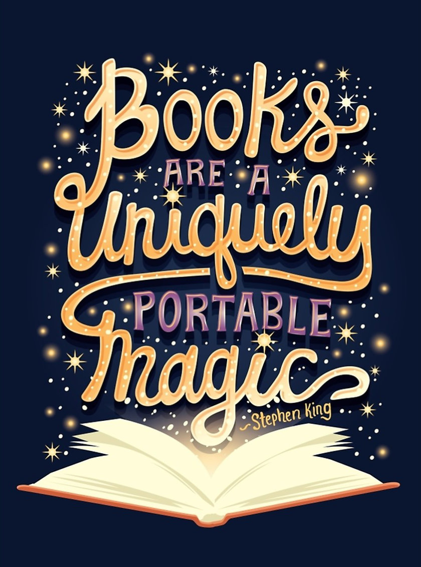 Books are a uniquely portable magic. –Stephen King #book #quote