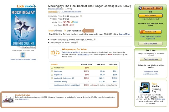 Find Kindle Unlimited marks on a single Kindle ebook page