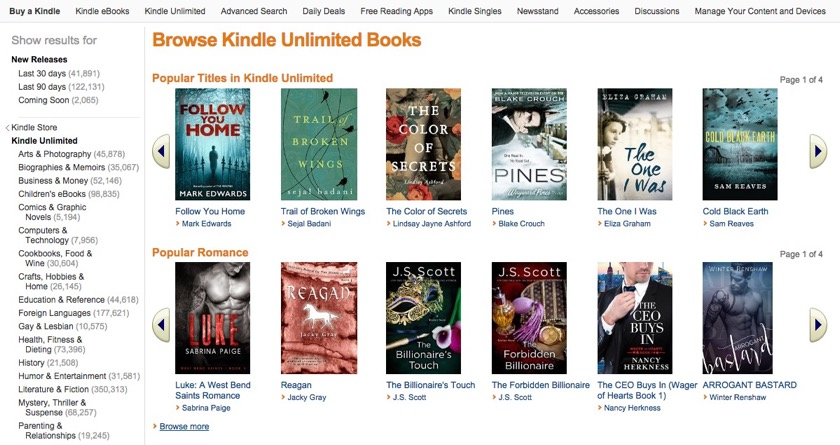 Kindle Unlimited home page