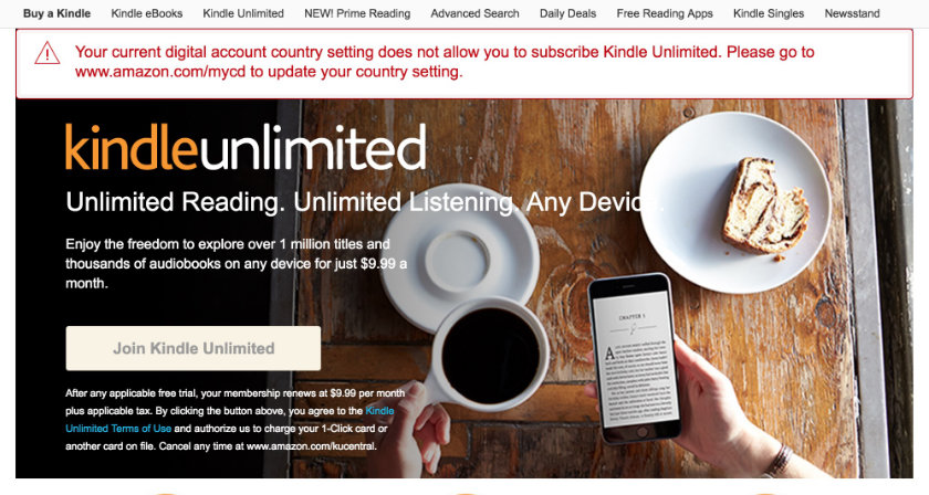 Kindle Unlimited is not available for foreign customers of Amazon US website