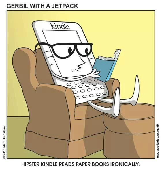 Hipster Kindle cartoon