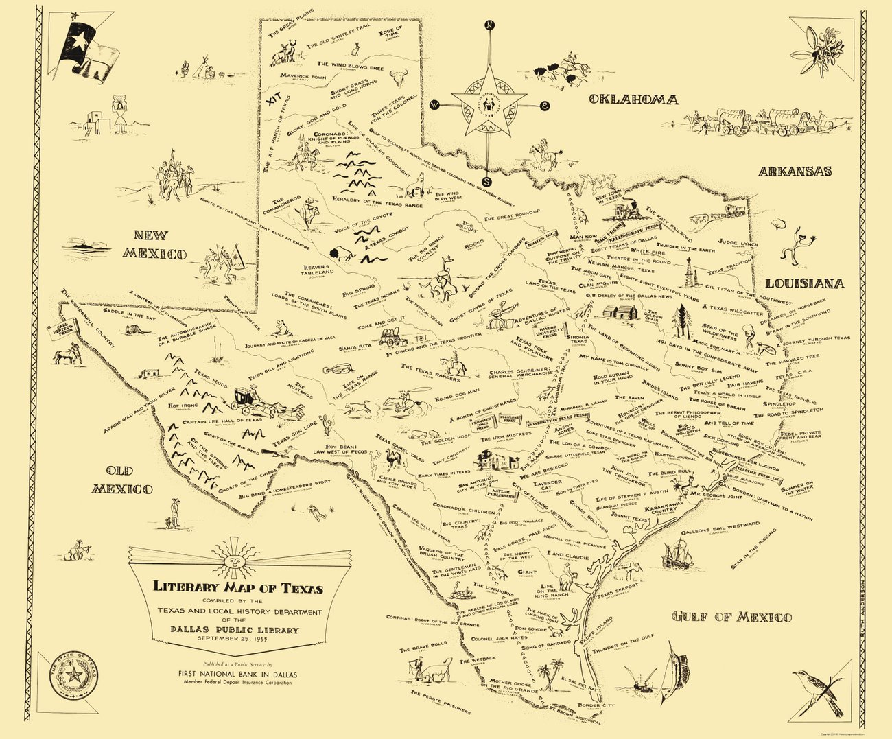 Literary Maps - 1955 literary map of Texas