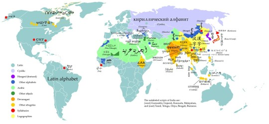 Literary maps - Writing systems of the world