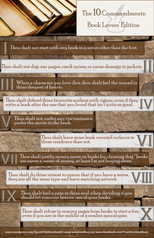 10 commandments for a #booklover - #infographic