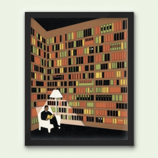 Man reading in a #library / designed by Charles S. Anderson Design