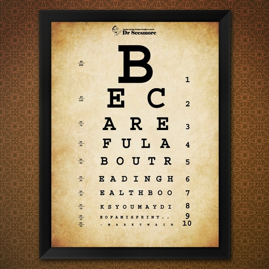 This eye chart hides a #quote by Mark Twain