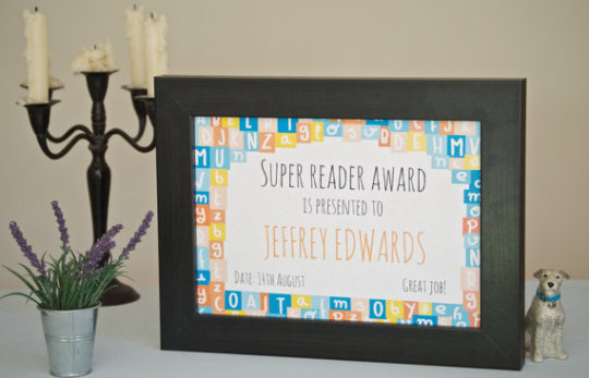 Great #gift idea ⇢ personalized children's #reading certificate - give your child this award to reinforce a positive state of achievement