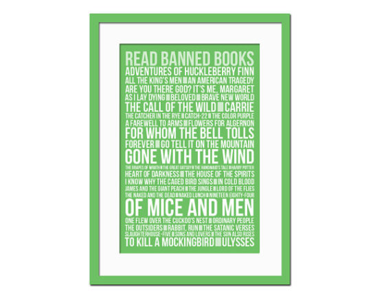 Read Banned Books poster / design by Folio Creations