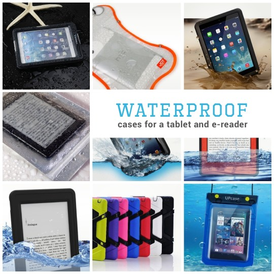 Waterproof cases for a tablet or e-reader
