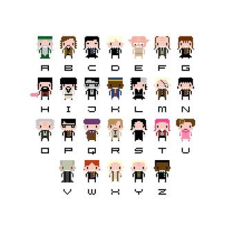 #HarryPotter pixel art alphabet