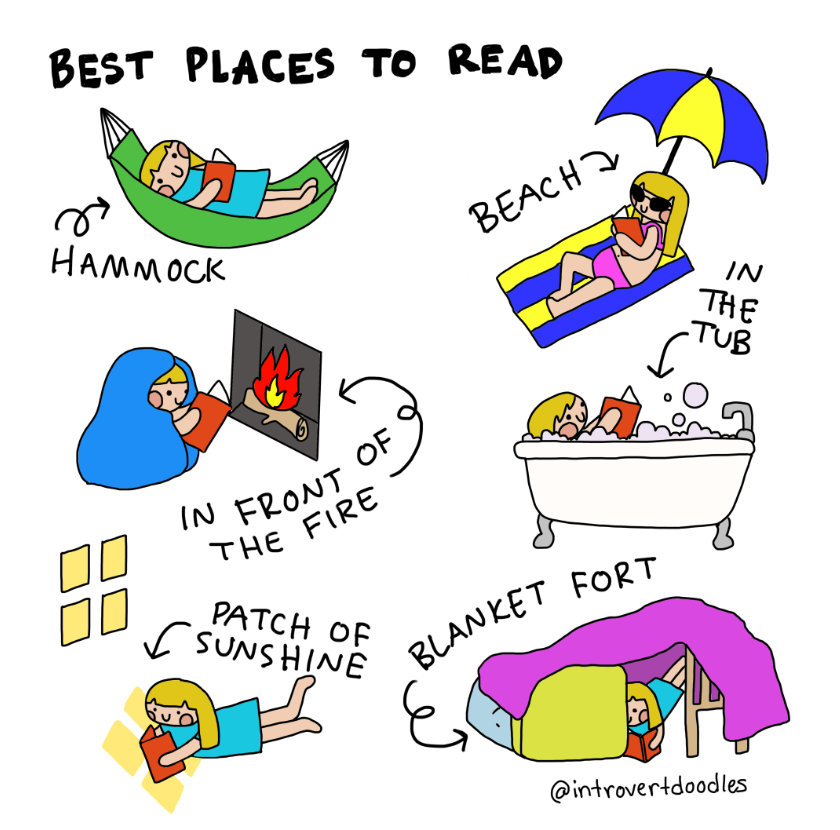 Introvert Doodles - Best places to read