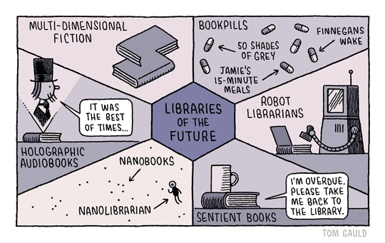 Libraries of the future #cartoon by Tom Gauld