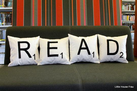 Read Scrabble pillows