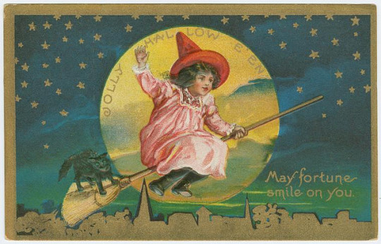 Vintage Halloween cards - May Fortune smile on you