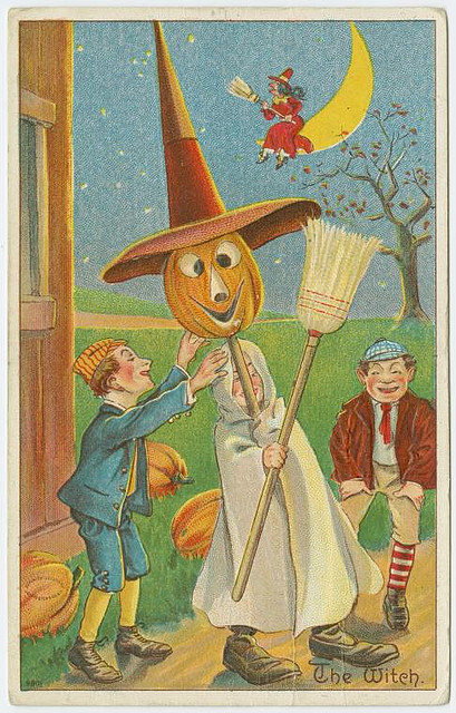 Vintage Halloween cards - The Witch