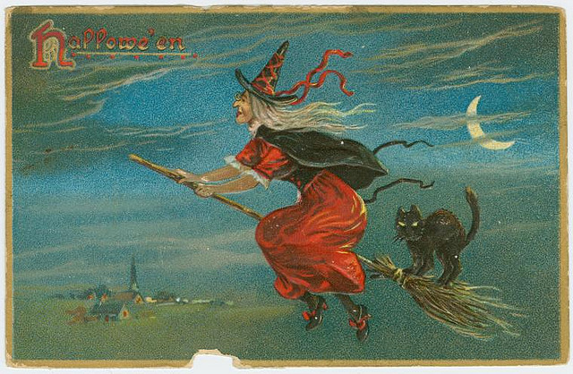 Vintage Halloween cards - The witch and the cat