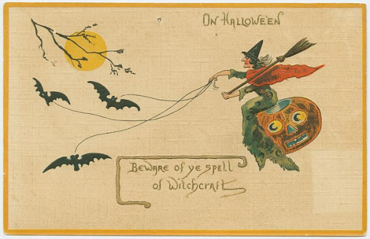 Vintage Halloween cards - beware of the spell of witchcraft
