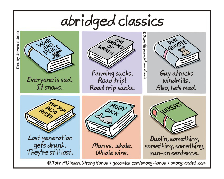 Abridged classic novels for people who dont have time - a cartoon by John Atkinson