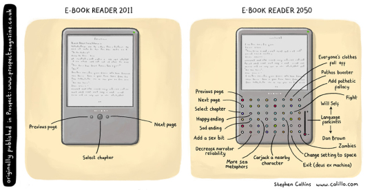E-book reader in 2050 - #cartoon