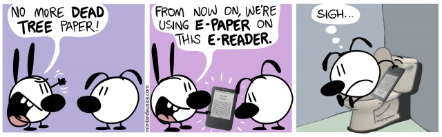 E-readers in the toilet - #cartoon