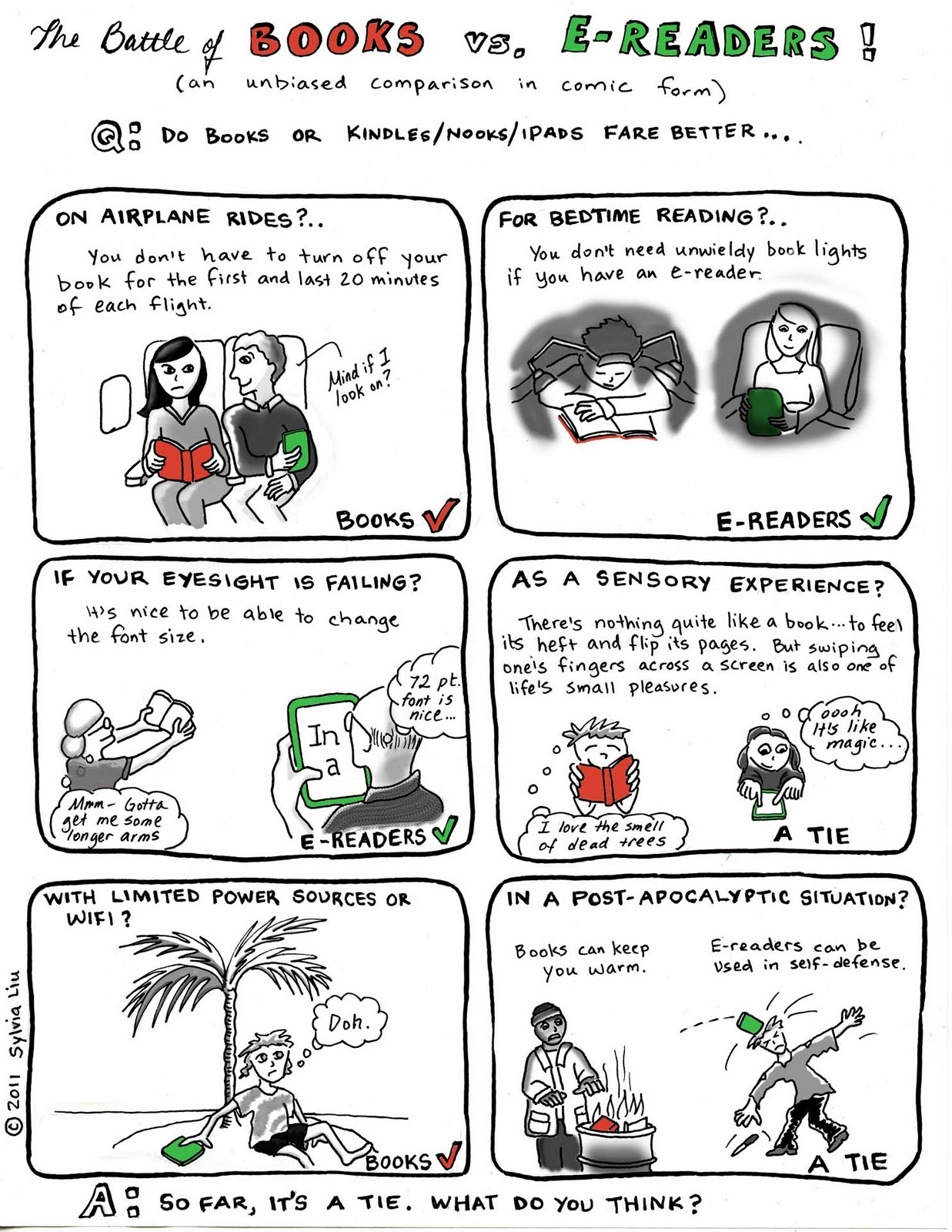The battle between books and e-readers - cartoon