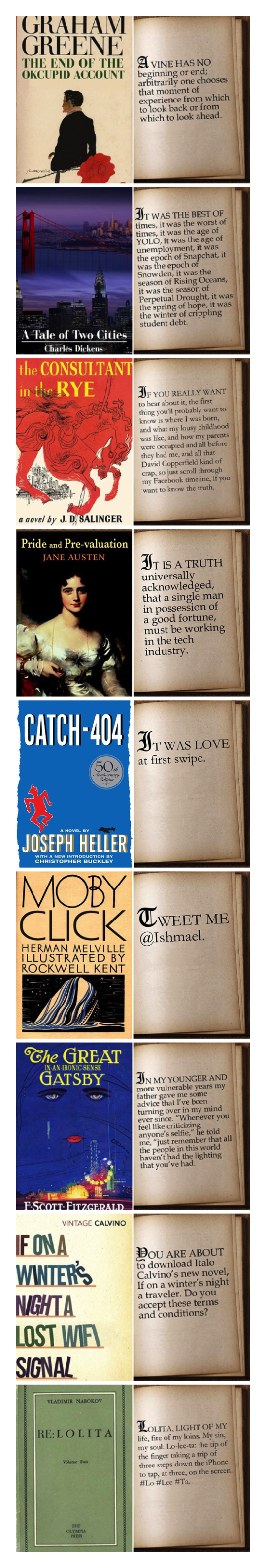 First lines from famous novels rewritten for 21st century