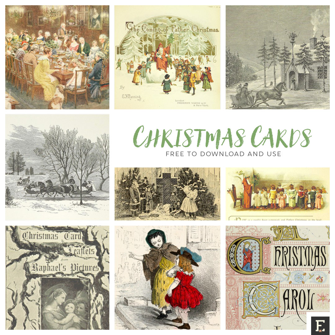 12 beautiful vintage Christmas cards and illustrations, free to use