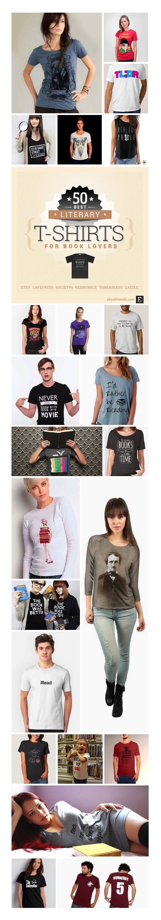 Best literary t-shirts for book lovers #infographic