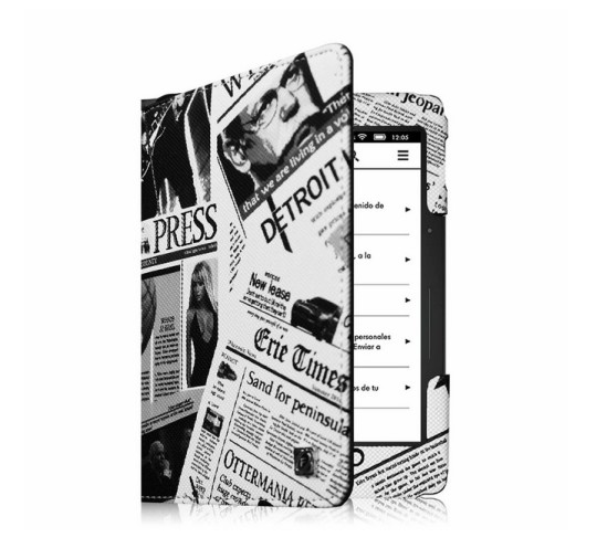 "Fintie ""Newspapers"" Slim Fit Folio Cover for Kindle Voyage"