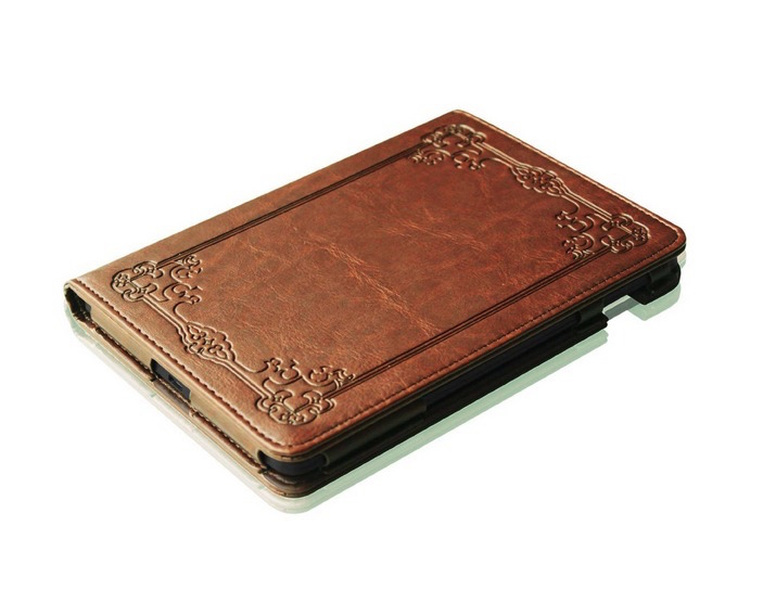 "Fintie ""Vintage Book"" Kindle Voyage Slim Fit Folio Cover - perspective"